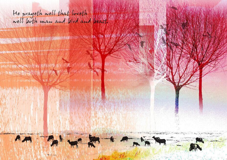 3D Rinder Schafe Schafe Schafe Vogel Wald 75 Tapete Wandgemälde Tapete Tapeten Bild Familie DE  | Günstigstes  | Haltbarer Service  | Angenehmes Gefühl  d845c0