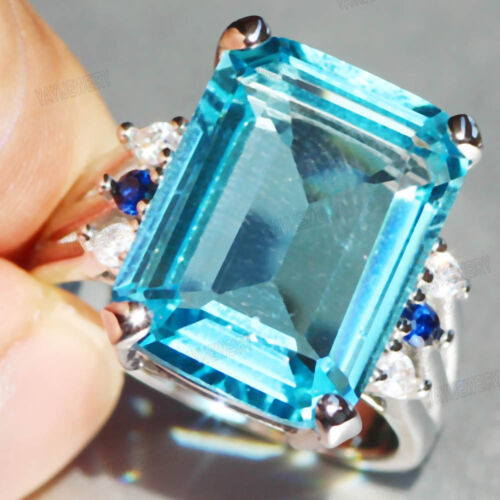 Hot 925 Silver Filled Huge Sea blue Sapphire Birthstone Wedding Band Ring Gift