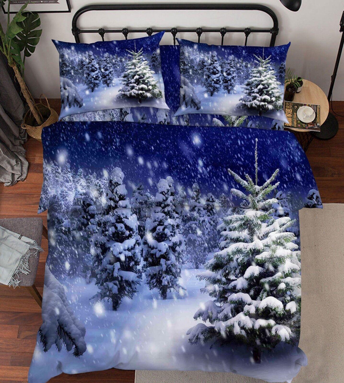 3D Woods Winter 66 Bed Pillowcases Quilt Duvet Cover Set Single King UK Lemon
