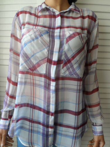 NEW WOMAN/'S LADIES LIGHTWEIGHT CHECK SHEER ELEGANT LONG SLEEVE SUMMER BLOUSE