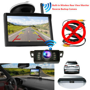 BUILT-IN-WIRELESS-CAR-PARKING-5-039-039-MONITOR-REVERSING-BACKUP-CAMERA-REAR-VIEW-KIT