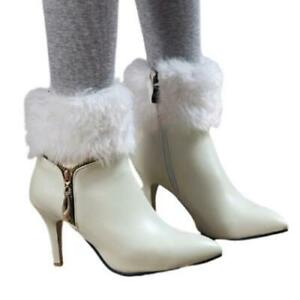 Women/'s Fur Trim Ankle Boots Pointed Toe Side Zipper Chunky Heel Riding Boots
