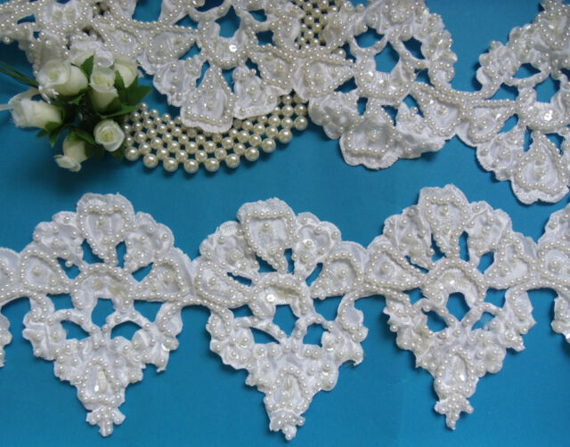 """5"""" Bridal Hand Sewn Beads Sequins Eyelet Satin Embroidered Lace Trims -36""""-T528"""