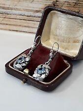 Antike Ohrringe Silber 835 mit Blautopas, traumhafte Goldschmiede Arbeit um 1930