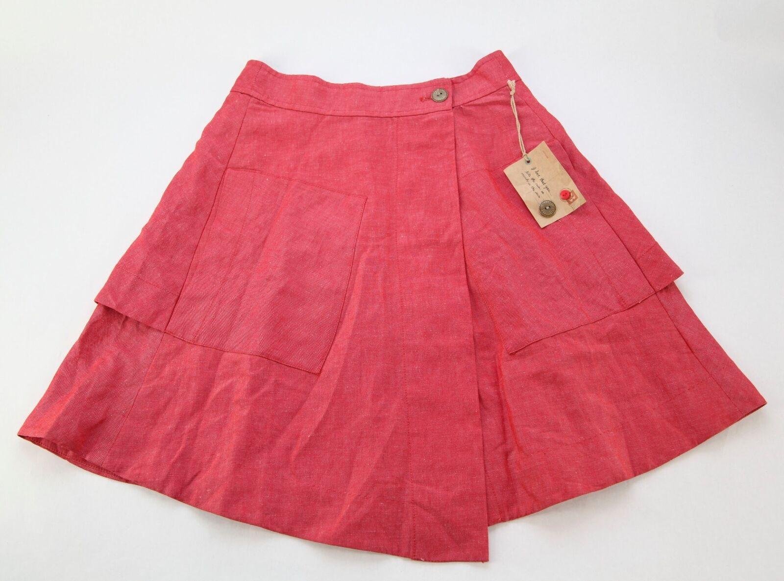 NEW w tags AnthGoldpologie rot Linen Silk Blend A Line Rock Größe 6P