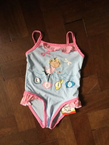 Girls Pink and Blue Charlie and Lola Swimsuit age 1 1//2-2 Years BNWT