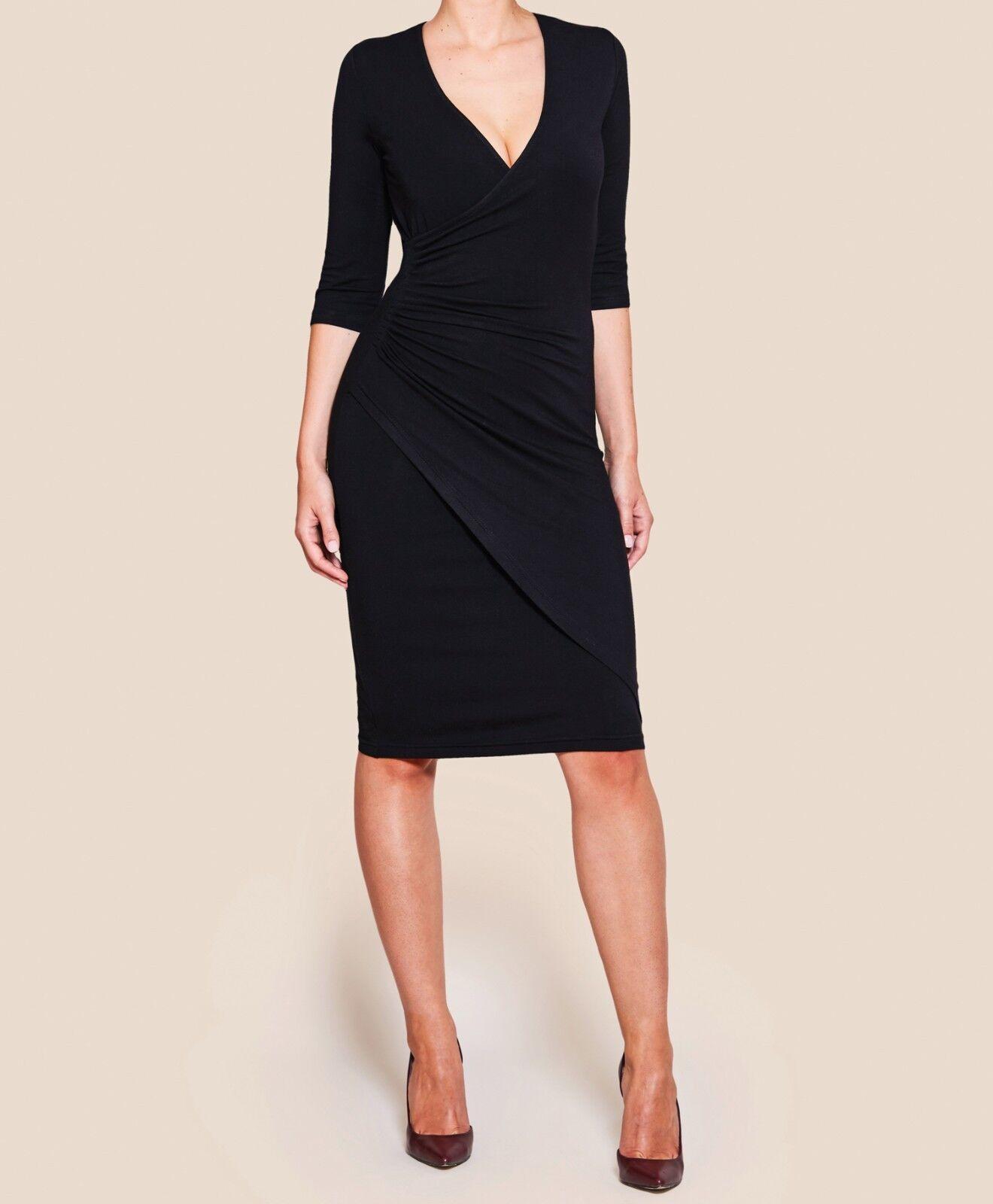 Jerseykleid in Wickeloptik mit 3 4-Arm in den Größen 34-46 erhältlich