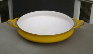 Dansk-Enamel-Kobenstyle-Paella-Pan-Yellow-10-034-Mid-Century-IHQ-France