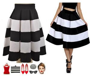 50s Style En Vogue PINUP BLACK & WHITE STRIPE HighWaisted FULL ...