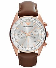 Emporio armani AR5995 brown leather strap MENS WATCH.chronograph.new