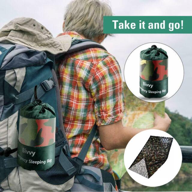 Reusable Camouflage Emergency Sleeping Bag Thermal Waterproof Survival Camping