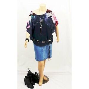 AUTOGRAPH-Navy-Flutter-Sleeve-Floral-Pattern-Kimono-Summer-Top-Plus-Size-18