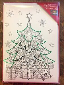 DIY Coloring Christmas Tree Cards 12 Cards & Envelopes 5 ...