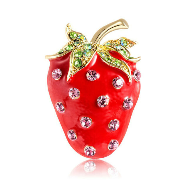 Cute Strawberry Corsage Banquet Decoration Women Scarf Brooch Pins Jewelry Gi BE