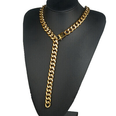 18K IP Black Gold 316L Stainless Steel Solid Cuban Chain Curb Mens Necklace