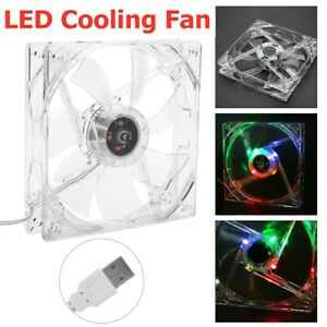 Transparent LED Light USB CPU Cooling Fan Cooler 5V 28CFM 120mm for Computer PC