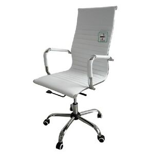Image Is Loading DESIGNER HIGH BACK RIBBED LEATHER COMPUTER OFFICE CHAIR