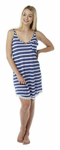 Ladies strappy chemise nightdress nightwear with horizontal stripe eight sizes