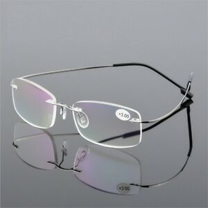 a983b459570 Image is loading Reading-Glasses-Rimless-Men-Eyeglasses-Metal-Frame -Business-