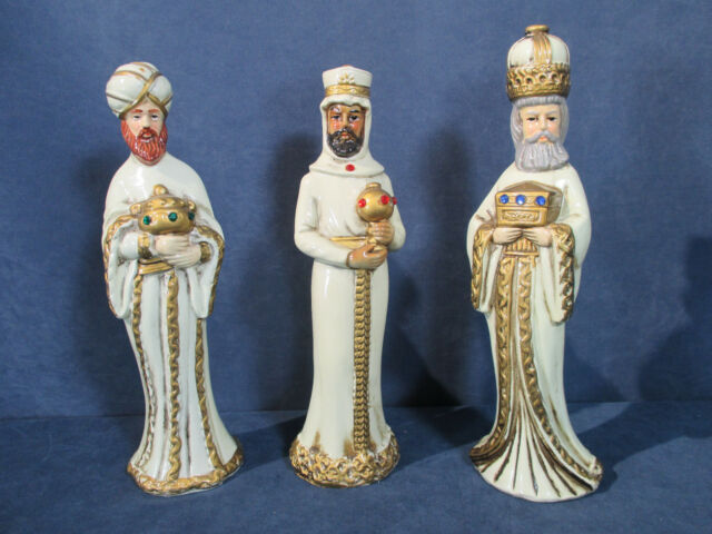 Wise Men 3 Kings Nativity Vintage Made in Japan Paper Mache Cream Robes Set of 3