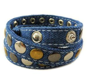 jeans armband mit nieten wickelarmband ebay. Black Bedroom Furniture Sets. Home Design Ideas