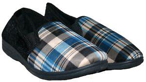 Para Hombre Azul Marino Cuadros en Resbalón en Zapatillas De Dormitorio En Tamaño 9
