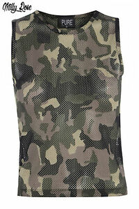 CAMO-ARMY-PRINT-GREEN-MESH-STRING-SHEER-CROPPED-VEST-TOP-SIZE-10-12-14-BNWT