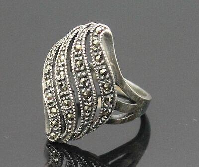 Clever Liebenswert Vintage Offener Wellig Design Markasiten Akzent Sterling Silber Ring Feines Handwerk