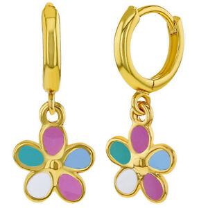18k-Gold-Plated-Enamel-Dangle-Flower-Girls-Hoop-Earrings-Kids-0-39-034