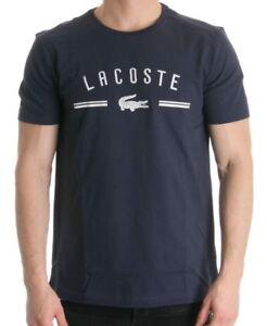BRAND-NEW-LACOSTE-LOGO-MEN-039-S-PREMIUM-COTTON-CREW-NECK-SHIRT-T-SHIRT-NAVY-BLUE