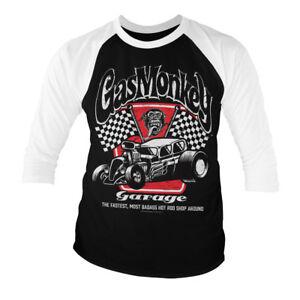 Gas Monkey Garage Baseball Shirt Racing Logo nouveau officiel Homme Noir manches 3//4