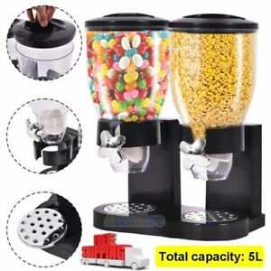 5L Double Chamber Dry Food Cereal Dispenser Airtight Kitchen Storage Machine USA
