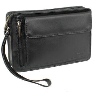 Luxus Herren Handgelenktasche Business Tasche mit Smartphonefach Leder schwarz
