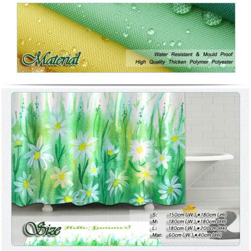 Floret Floret Waterproof Bathroom Polyester Shower Curtain Liner Water Resistant