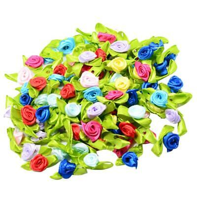 100 Pieces Mini Satin Ribbon Flowers Rose Leaf Decoration Sewing Craft DIY