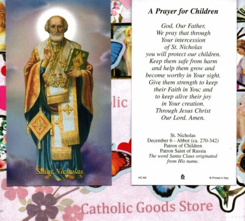 Saint St Nicholas with a Prayer for Children Paperstock Holy Card