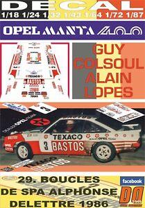 """DECAL OPEL MANTA 400 /""""BASTOS/"""" G.COLSOUL YPRES 24 R 01 1985 5th"""