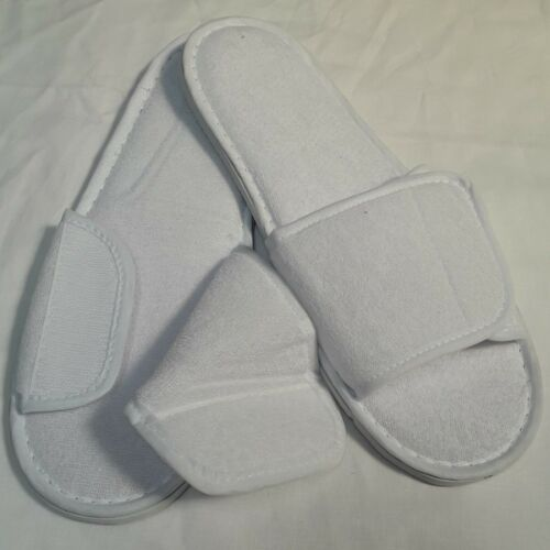 WHOLESALE VALCRO HOOK/&LOOP TERRY OPEN TOE WHITE HOTEL SPA SLIPPERS 1 SIZE 29CM