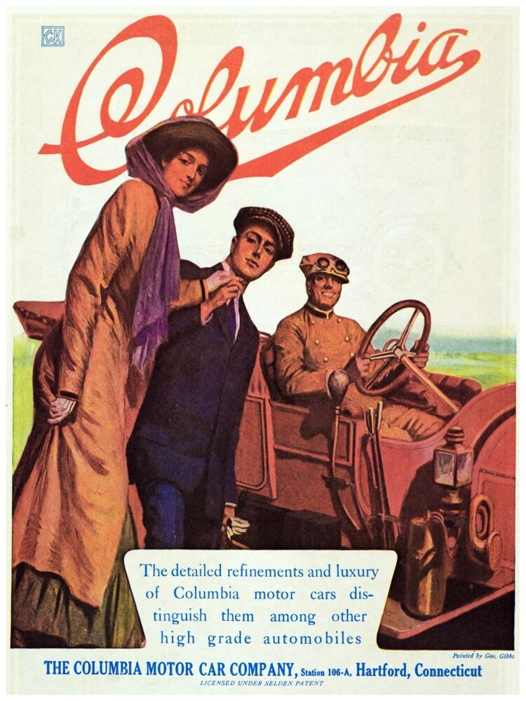 5858.The Columbia Motor Car company.three people and car.POSTER.Home Office art