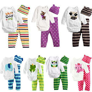 3pcs Newborn Baby Boy Girl Romper Pants Hat Outfits Set Clothes Infant Babygrow