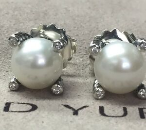 53989f188f1a David Yurman Sterling Silver 14K Gold Post Cable Pearl Earrings ...