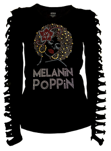 Bling Melanin Poppin Rhinestone T-Shirt Afro Flower Ripped Cut Out Ln S~4XL