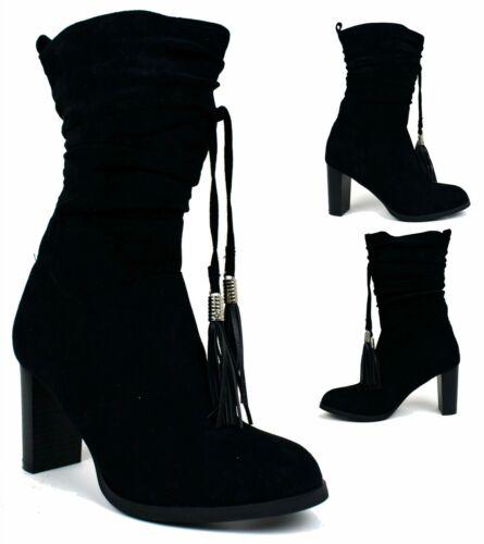Ladies New Black Pull On Block Heel Tassel Women Boots UK Size 3-8