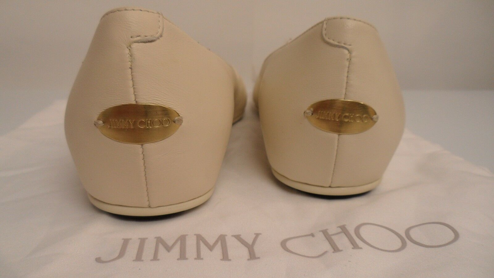 Jimmy Choo Waine Off Weiß Chainmail-Paneled  9 Leder Flats Left Sz 9  Right 9.5 a9e317