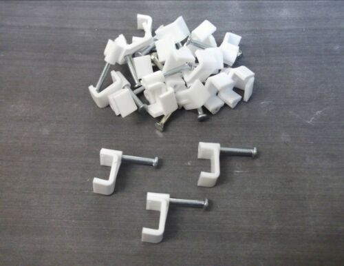 White 10mm Flat cable clips Twin/&Earth Fixing nail Pack of 40 *Top Quality!