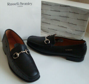 RUSSELL-BROMLEY-Womens-Black-Italian-Leather-Moccasin-Loafer-Low-Heels-Shoes