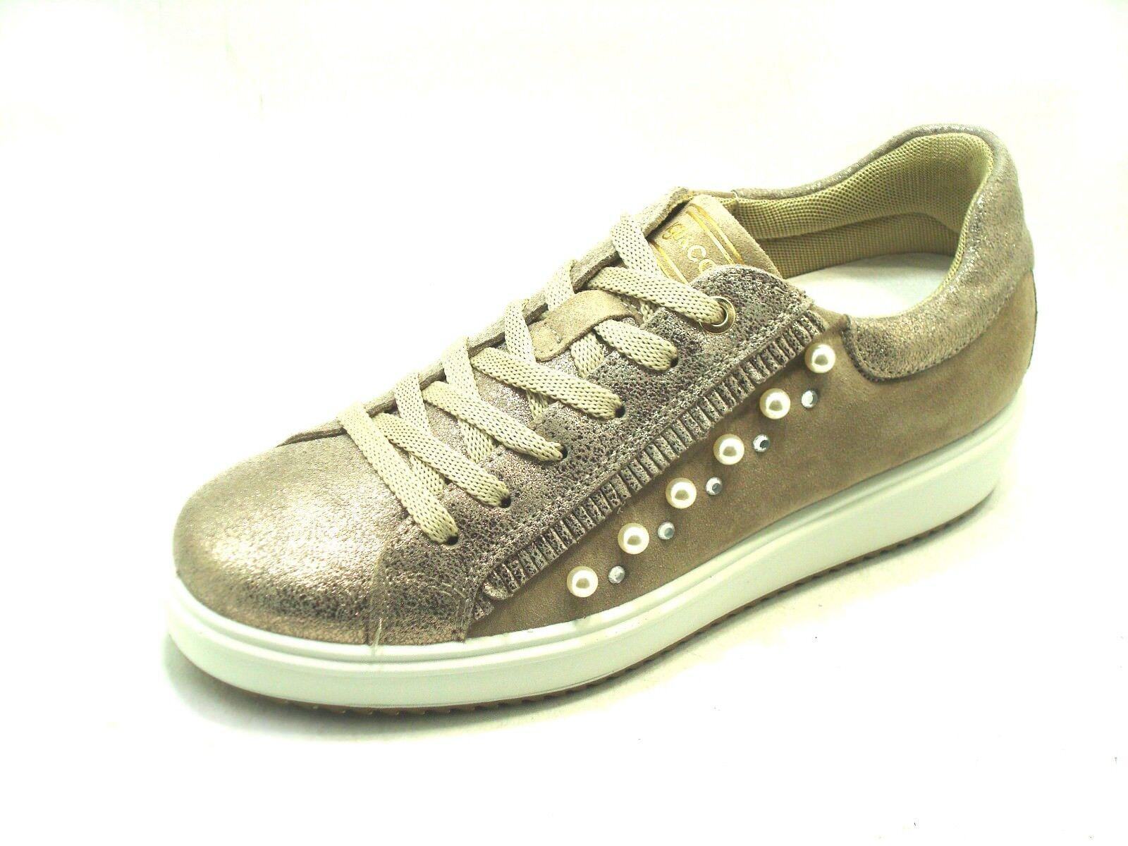 Sneaker donna e IGI&CO  in Camoscio Taupe e donna Laminato con Perle e58aa6