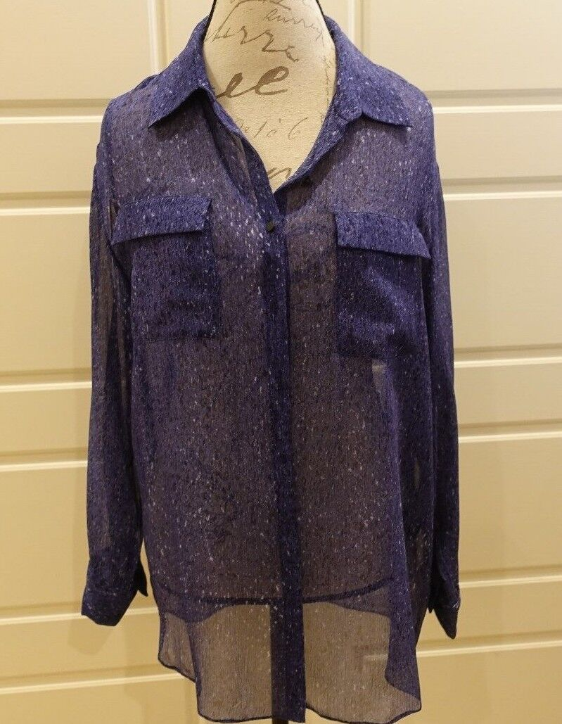 Elie Tahari - Blau & schwarz confetti print blouse w slit sleeves