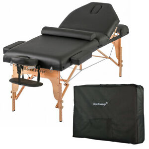 New-Professional-77-034-Long-30-034-Wide-4-034-Pad-Reiki-Portable-Massage-Table-Black