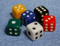 Six Tiny Coloured Dice 5mm, Doll House Miniatures 1.12 Scale